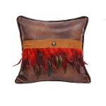 Leather Pillow with Red Feathers