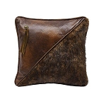 Half Faux Fur and Faux Leather Pillow