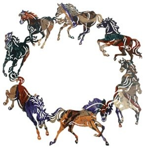 Circle of Horses Featuring 8 Horses in a Circle